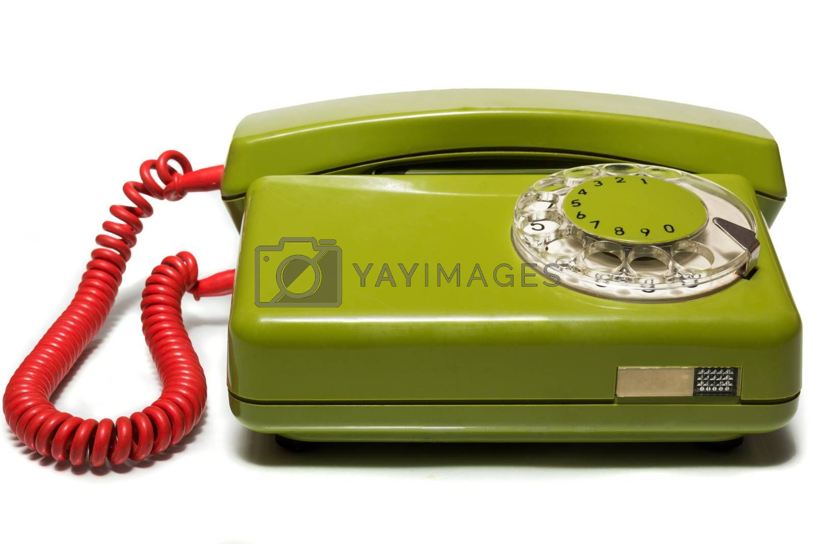 The photo depicts a mobile phone on a white background