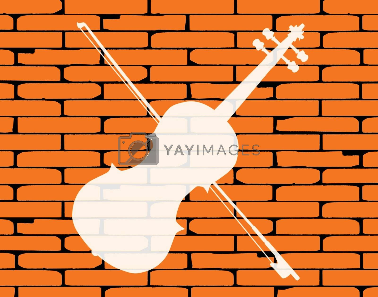 A well worn wall painted with a country fiddle in white