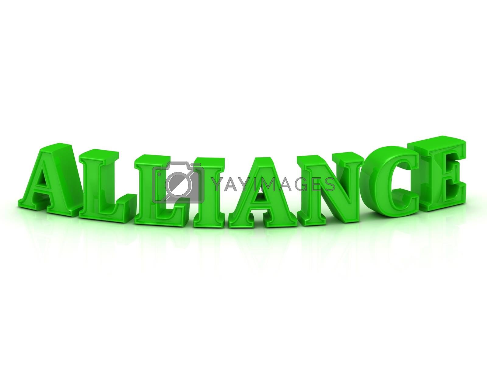 ALLIANCE - bright green bend word on a white background