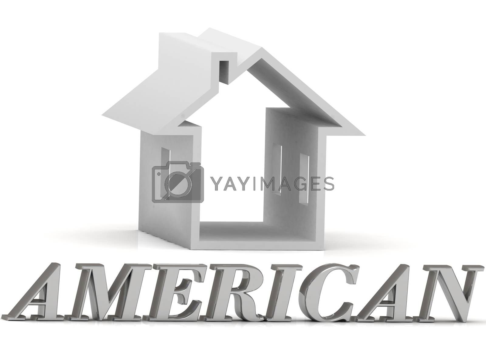AMERICAN- inscription of silver letters and white house on white background
