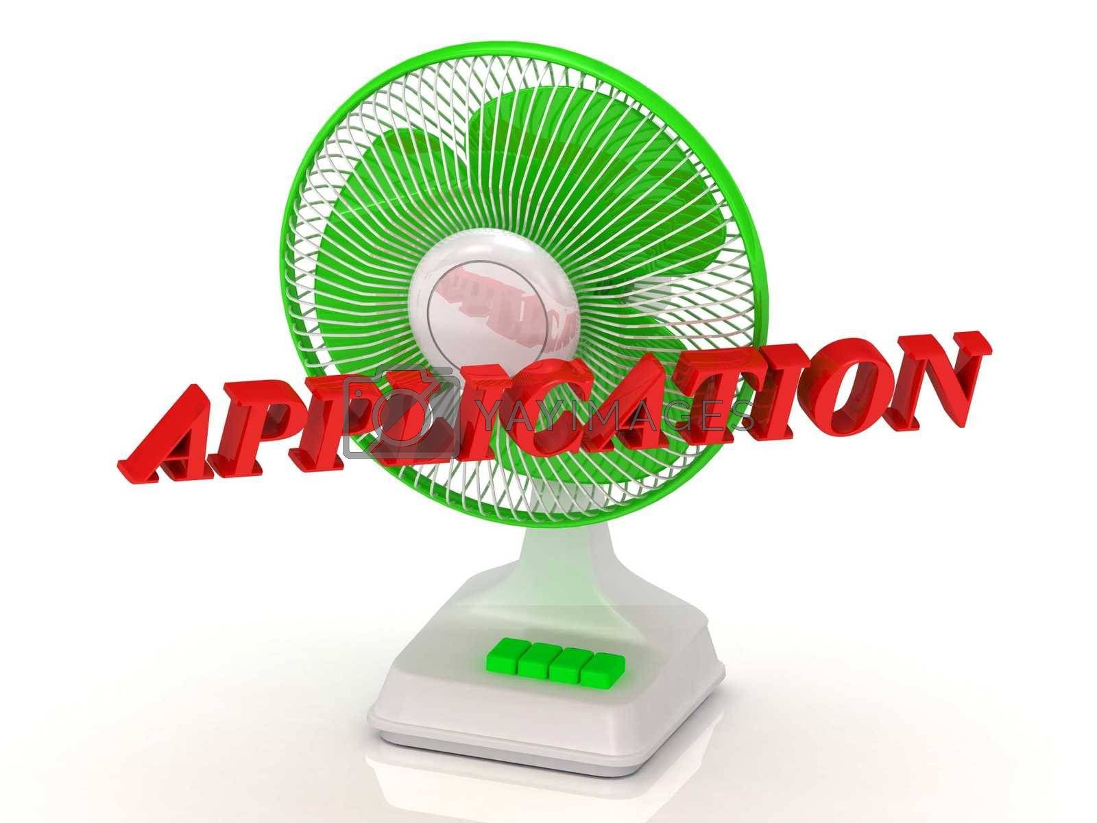 APPLICATION - Green Fan and bright color letters on a white background