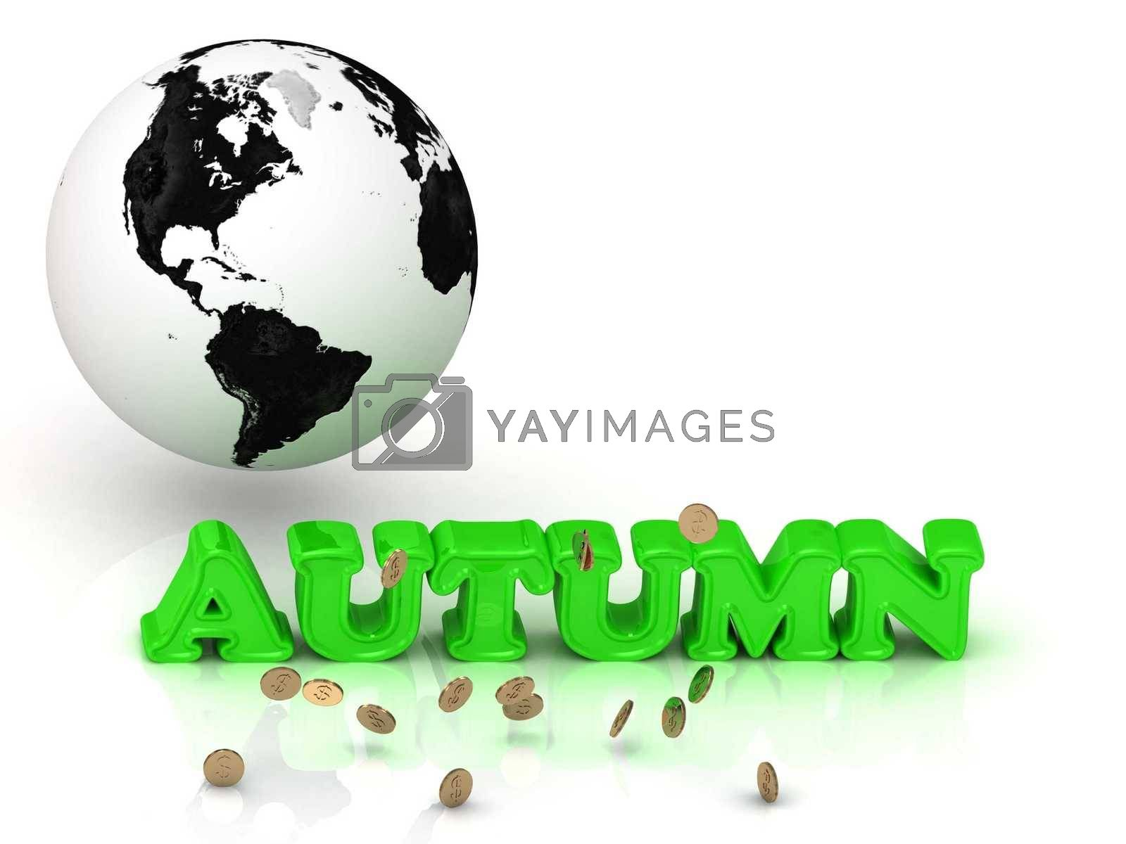 AUTUMN - bright color letters, black and white Earth on a white background