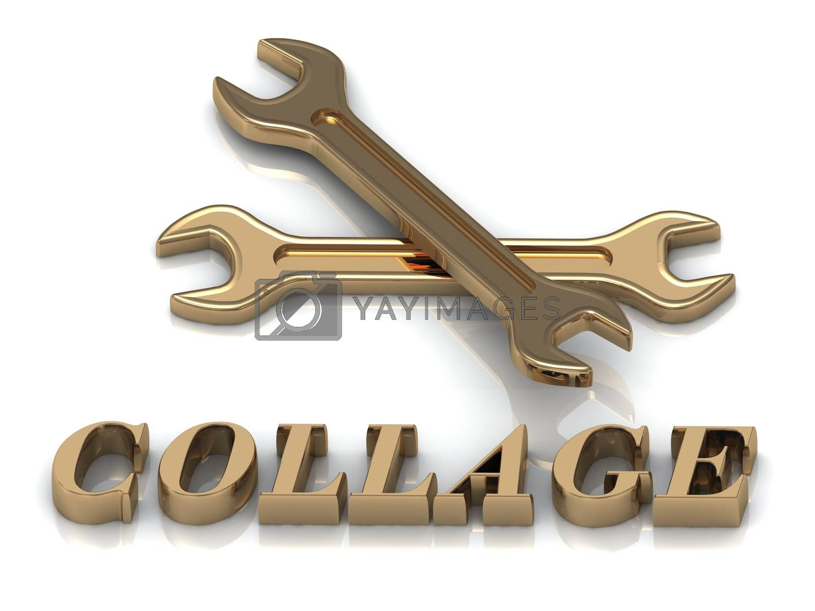 COLLAGE- inscription of metal letters and 2 keys on white background
