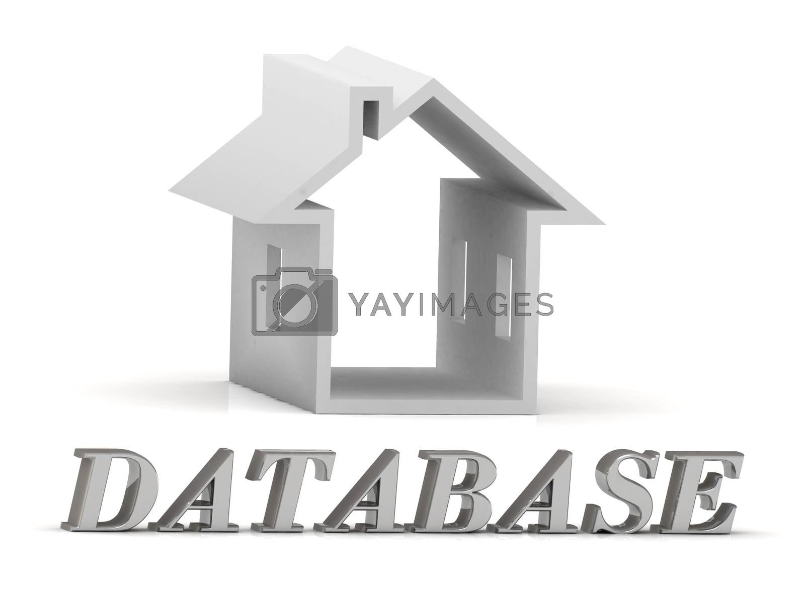 DATABASE- inscription of silver letters and white house on white background