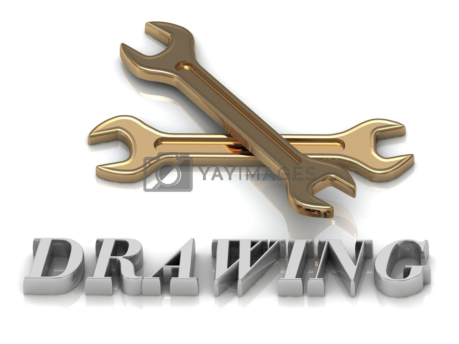DRAWING- inscription of metal letters and 2 keys on white background