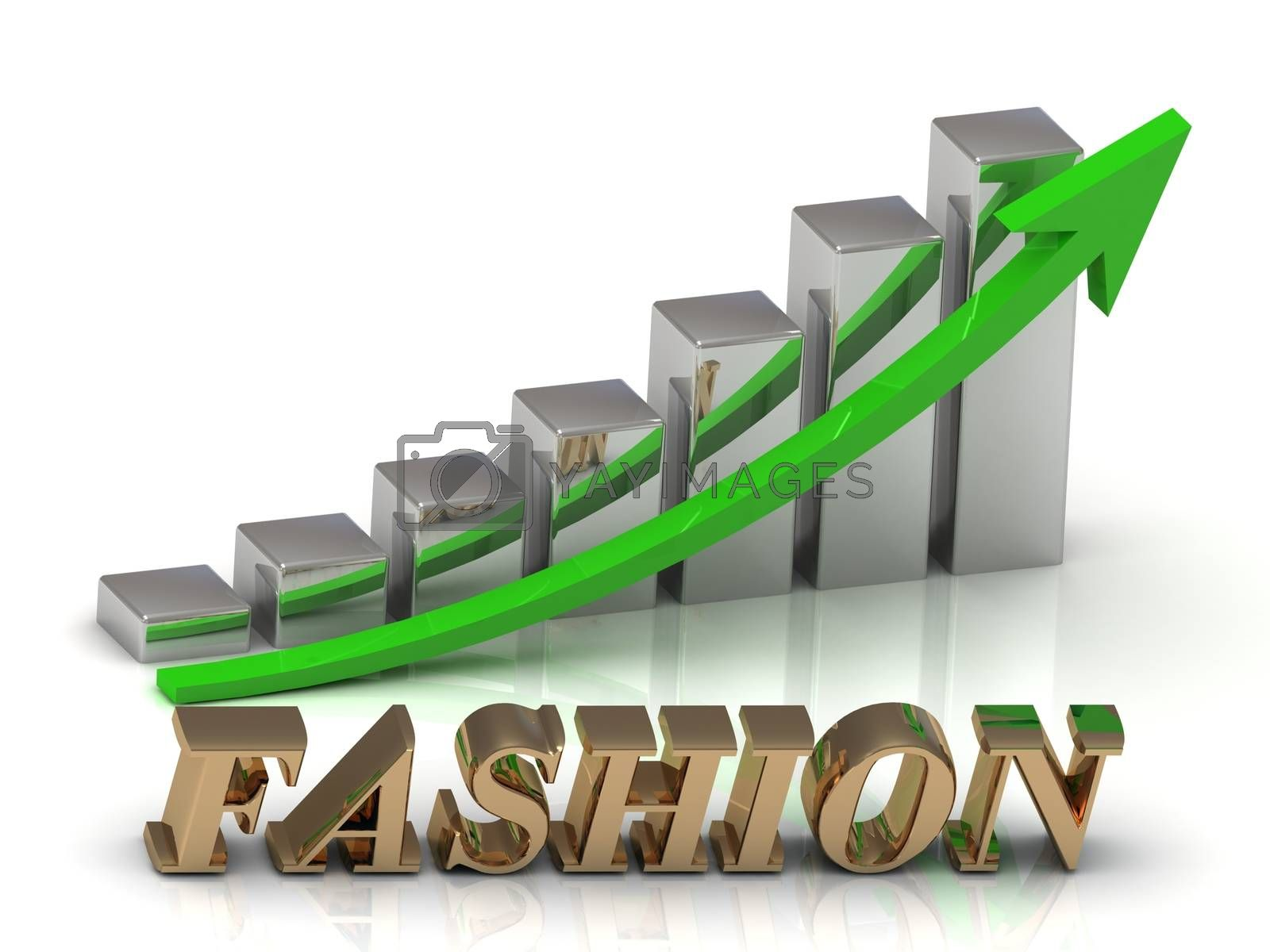 FASHION- inscription of gold letters and Graphic growth and gold arrows on white background