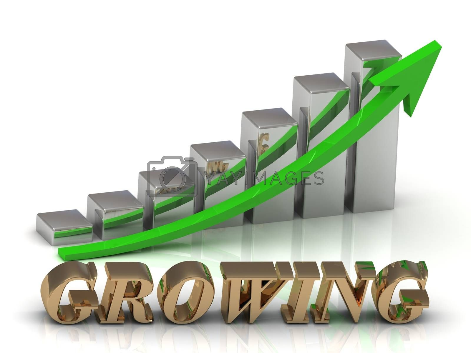 GROWING- inscription of gold letters and Graphic growth and gold arrows on white background