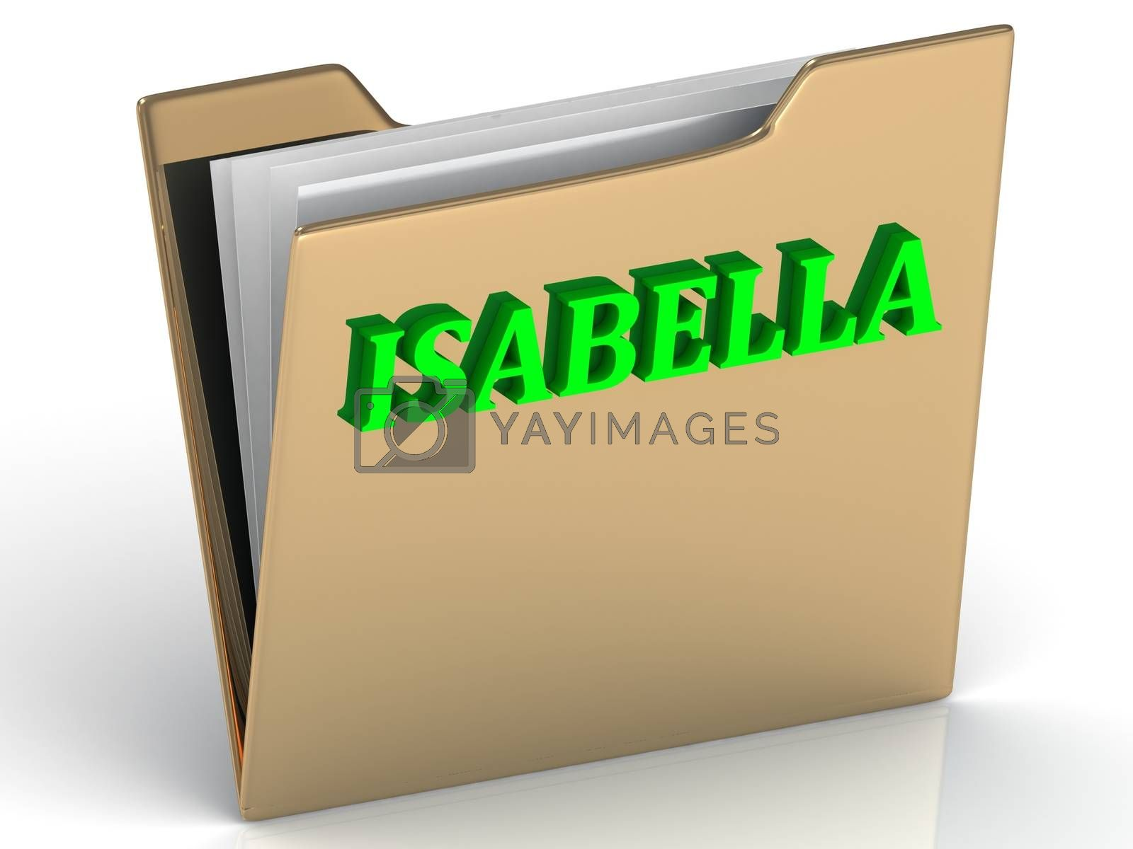 ISABELLA- bright green letters on gold paperwork folder on a white background