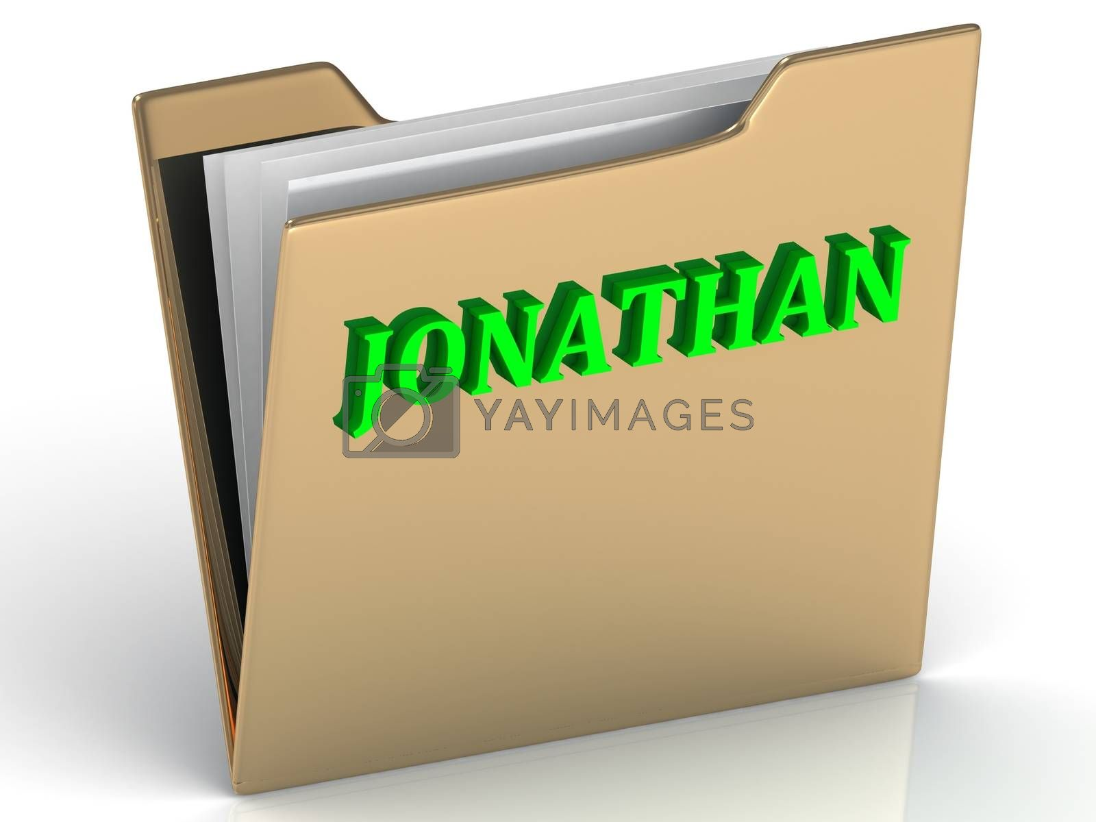 JONATHAN- bright green letters on gold paperwork folder on a white background