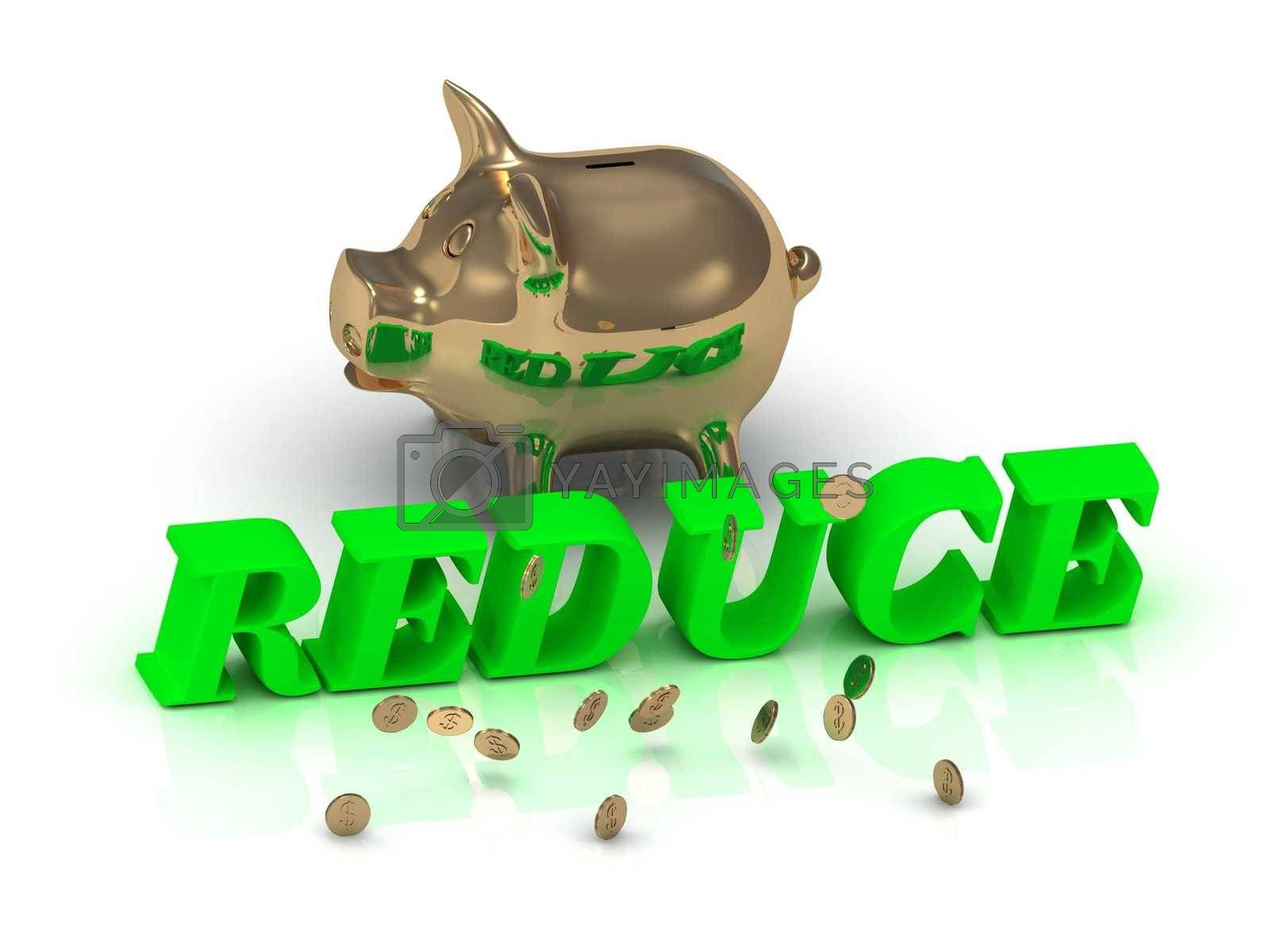 REDUCE- inscription of green letters and gold Piggy on white background