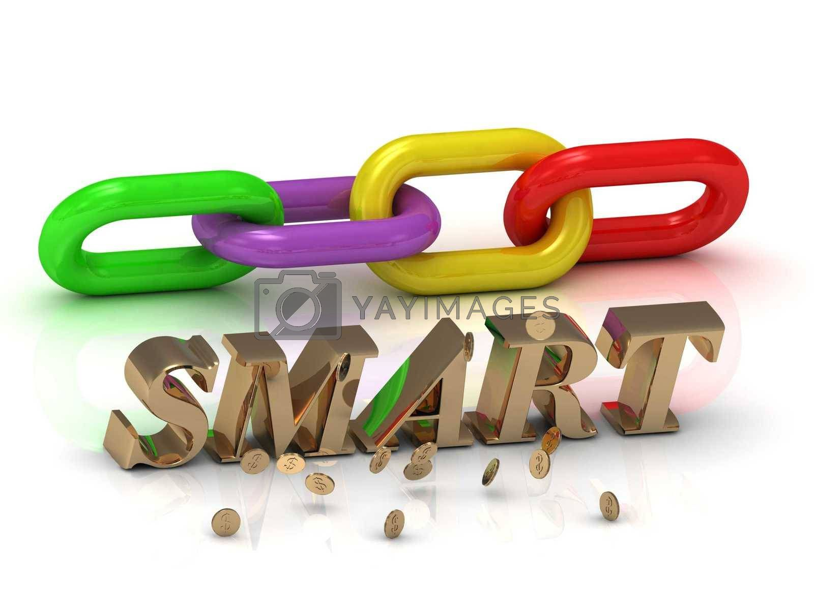 SMART- inscription of bright letters and color chain on white background
