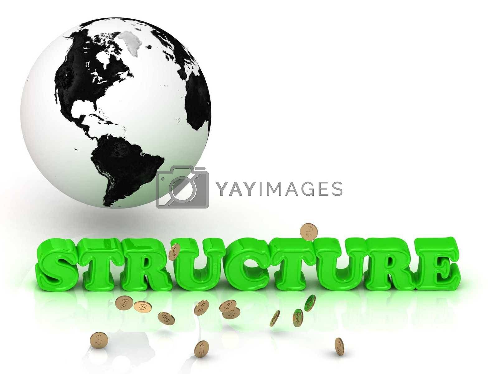 STRUCTURE- bright color letters, black and white Earth on a white background