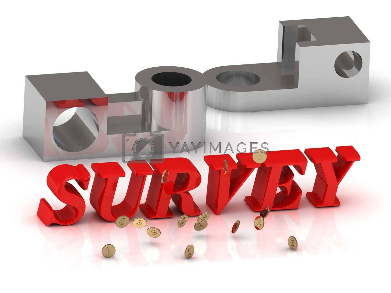 SURVEY- inscription of red letters and silver details on white background