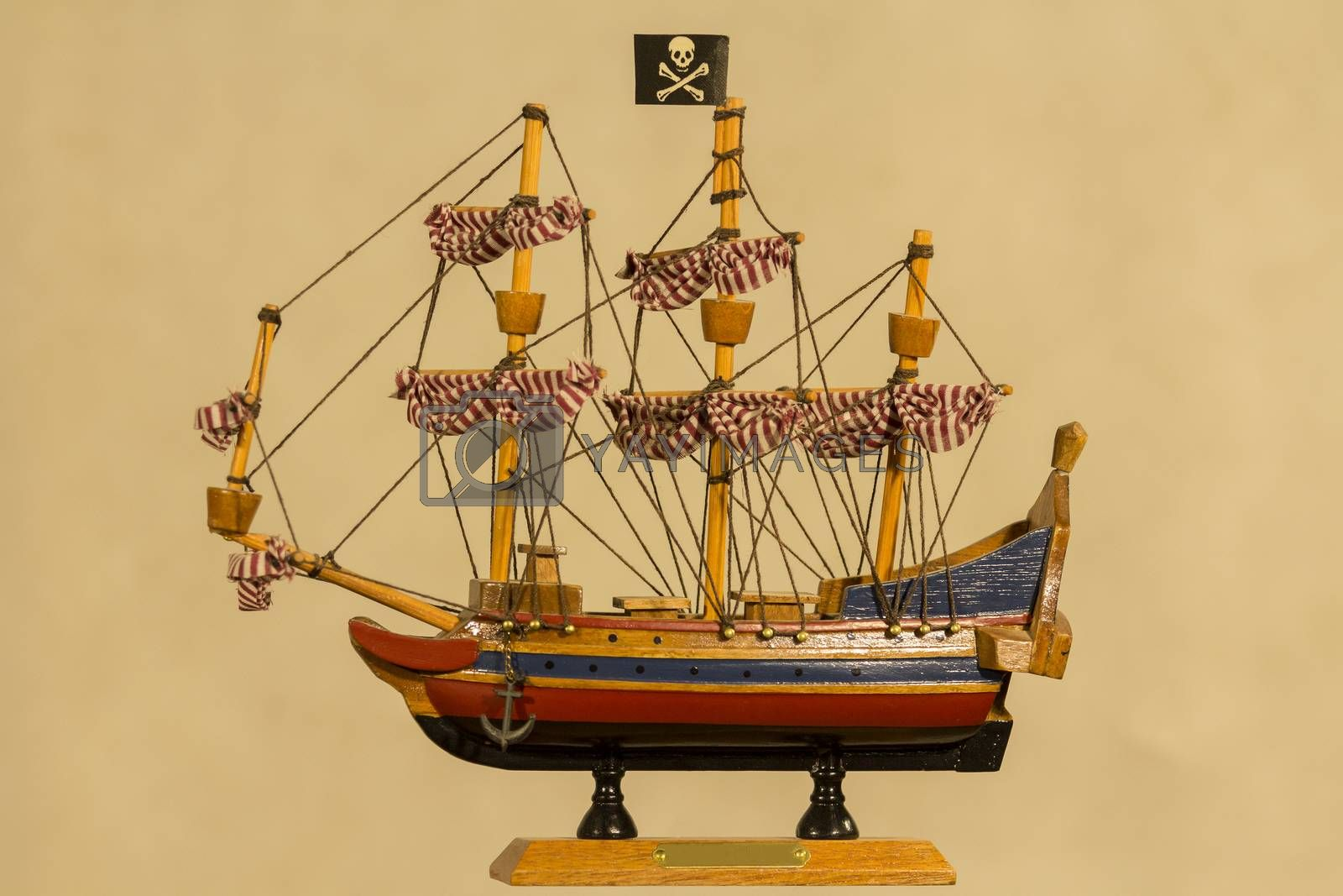 detailed XVIII century frigate model isolated over grey background