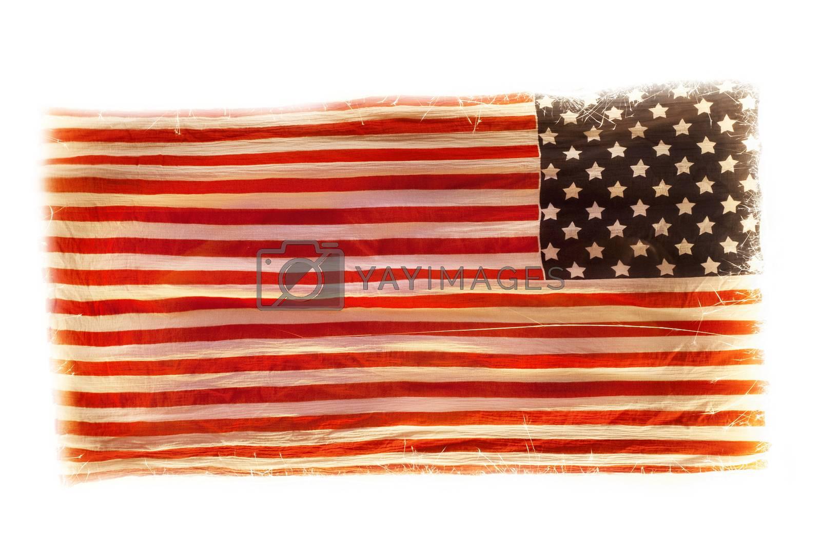 grunge American national flag isolated on white background