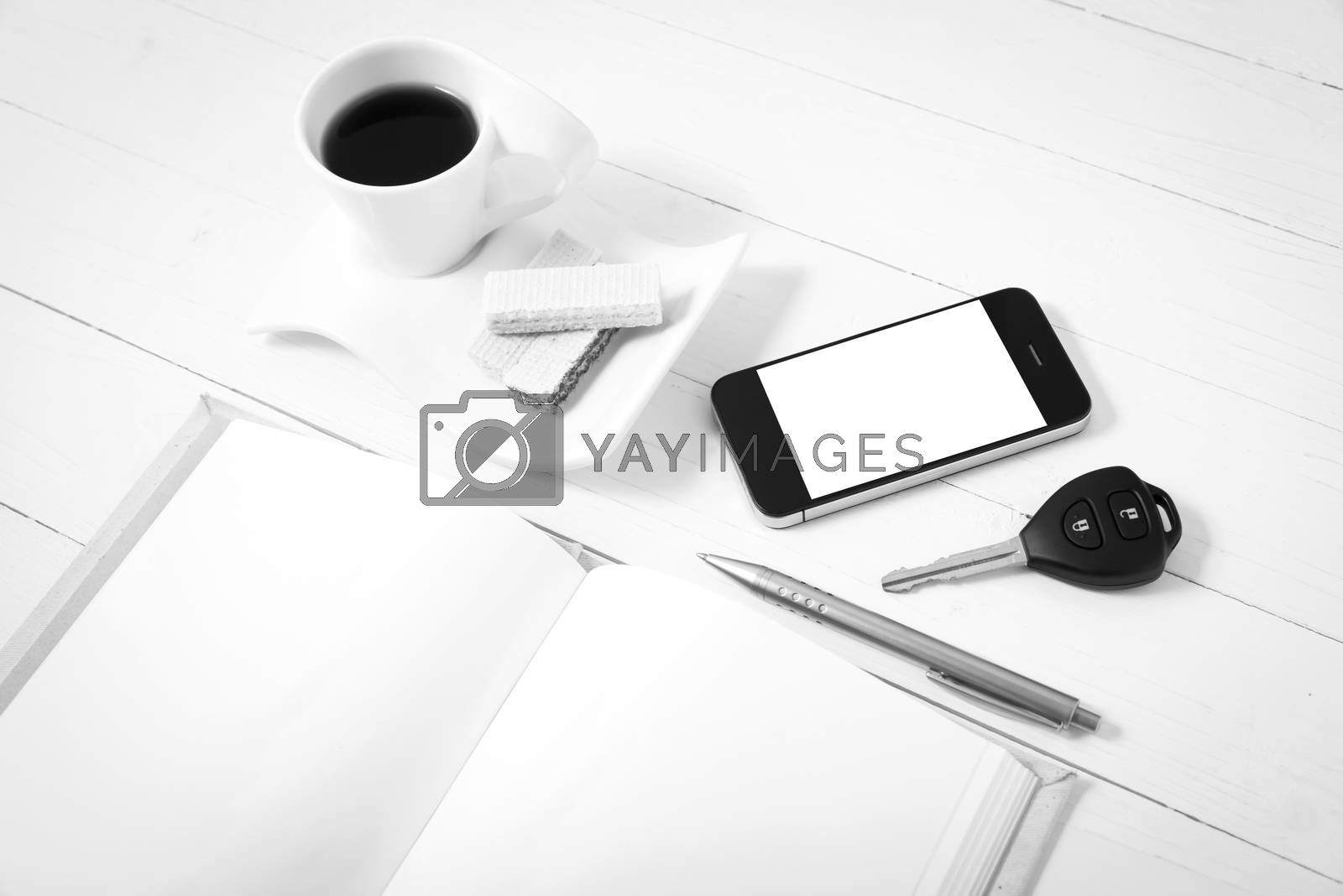 coffee cup with wafer,phone,car key,notebook black and white col by Nisakorn Neera