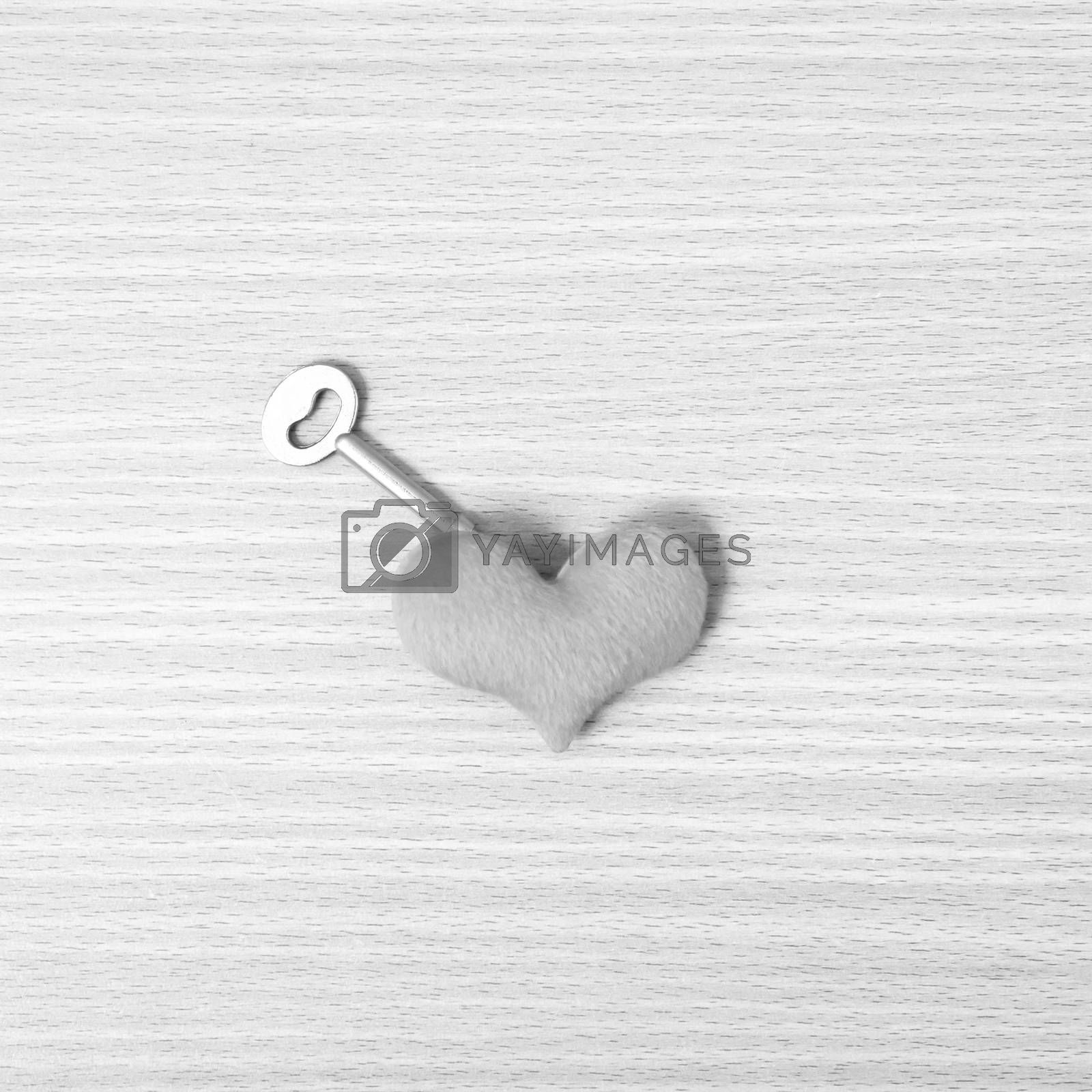 red heart with key black and white color by Nisakorn Neera