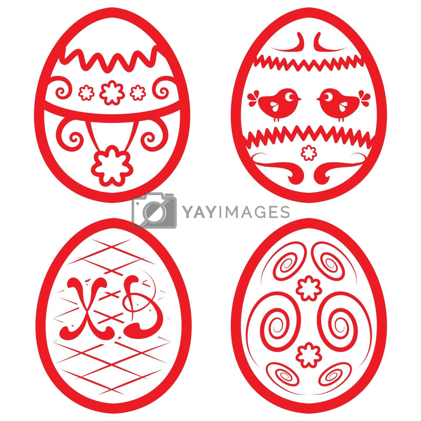 Vector Easter set for design. Four beautiful eggs
