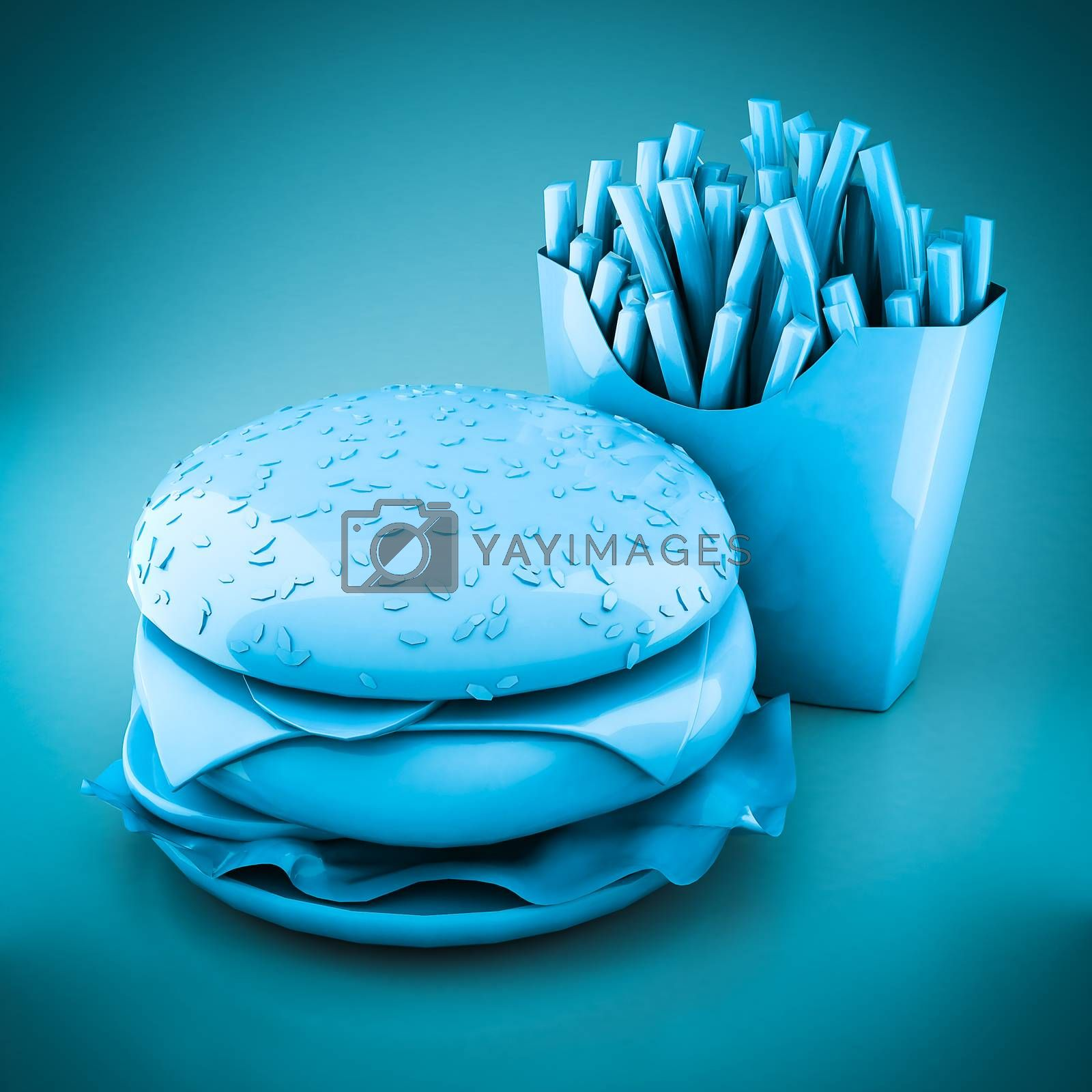 Hamburger and fries on a blue background