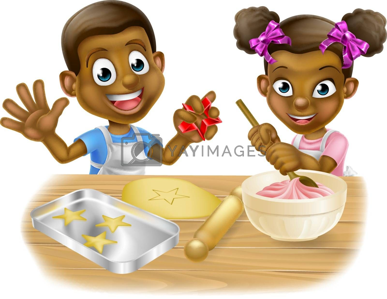 A cartoon black boy and girl children dressed as bakers baking cakes and cookies