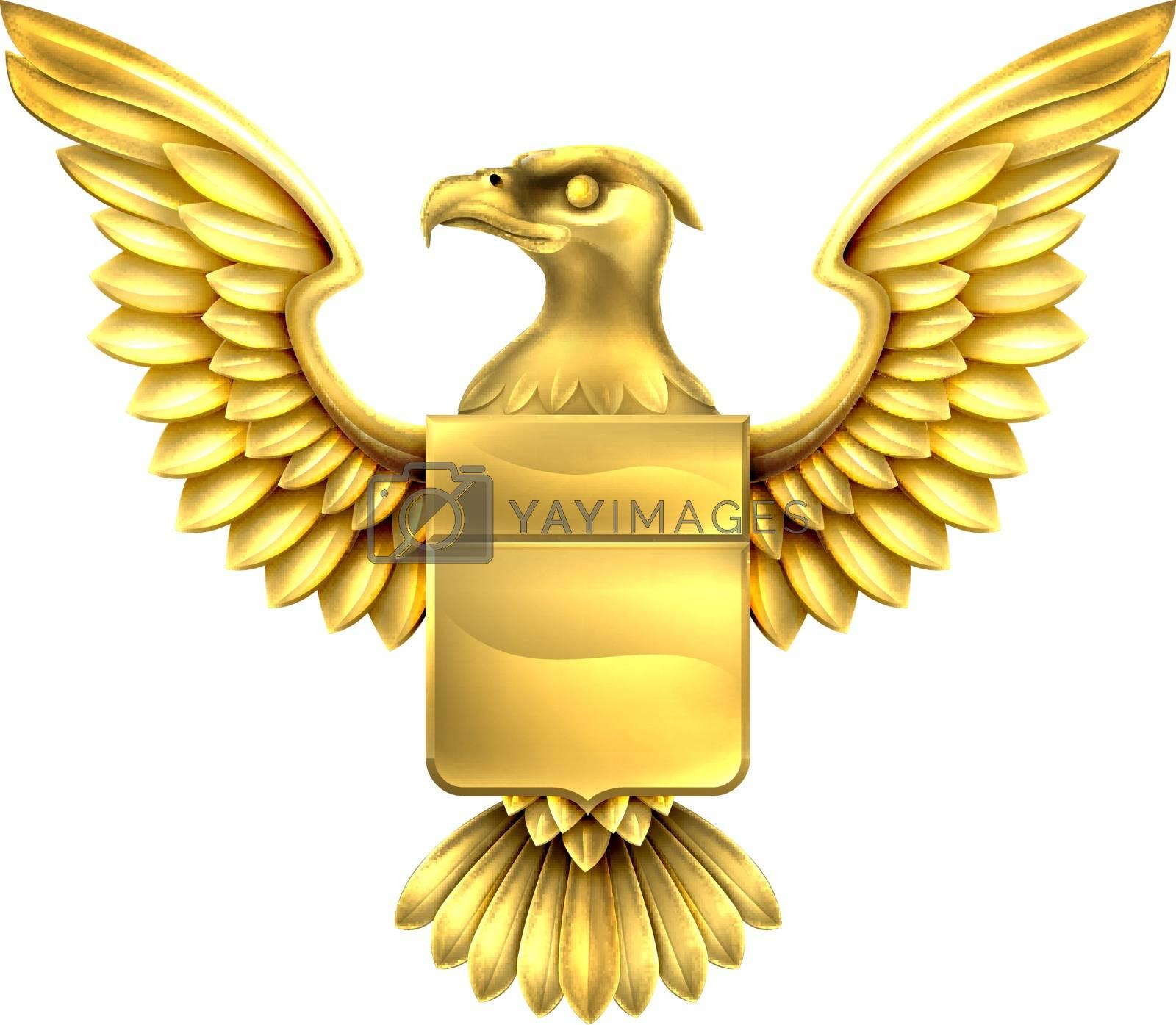 An eagle golden metal shield heraldic heraldry coat of arms design.