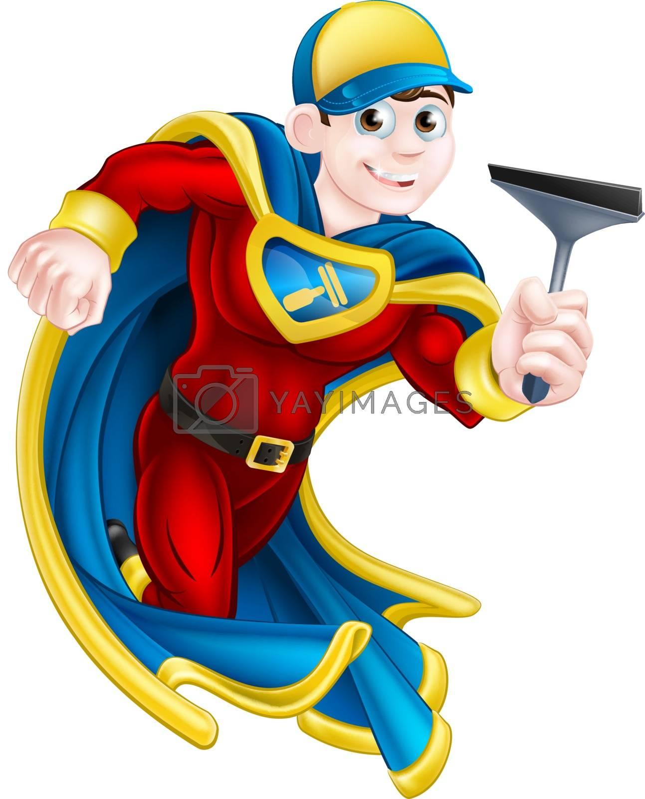 Cartoon window cleaner or car wash man super hero mascot holding a squeegee
