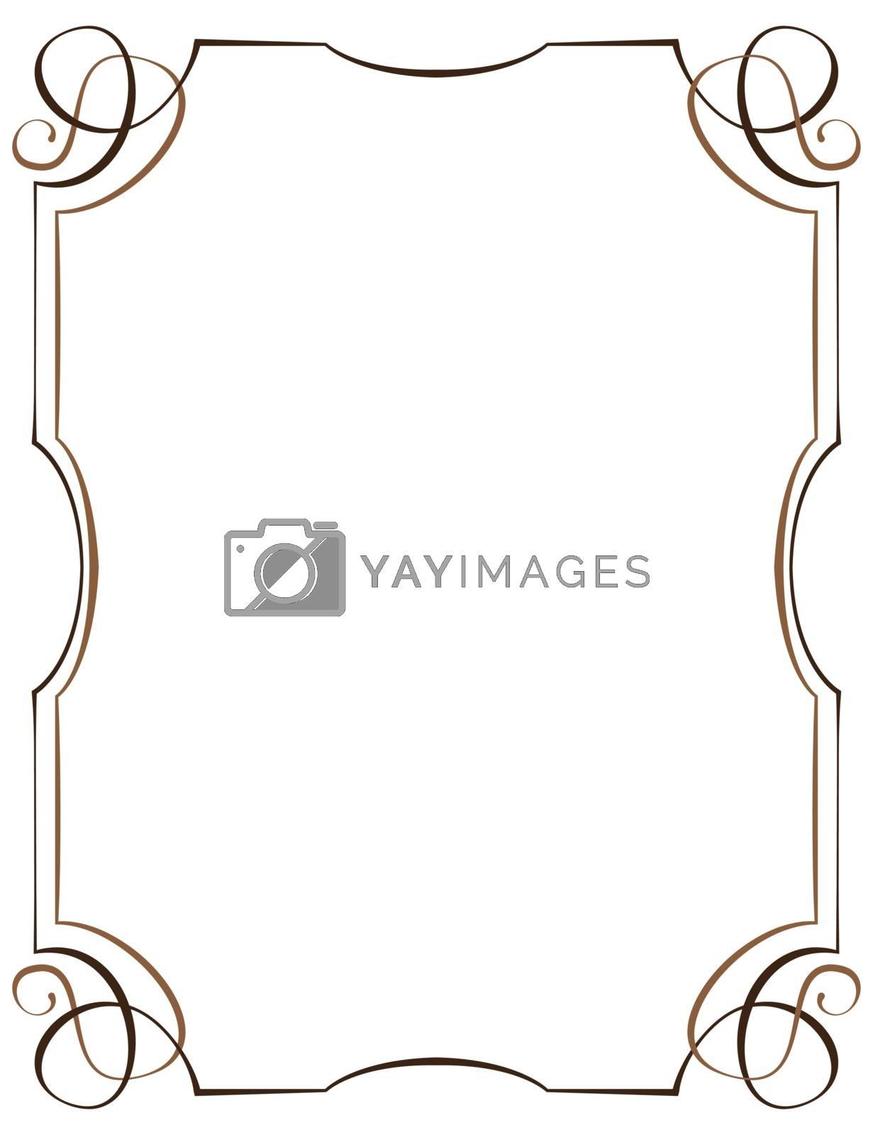 Vintage multilayer vertical vector frame with swirls