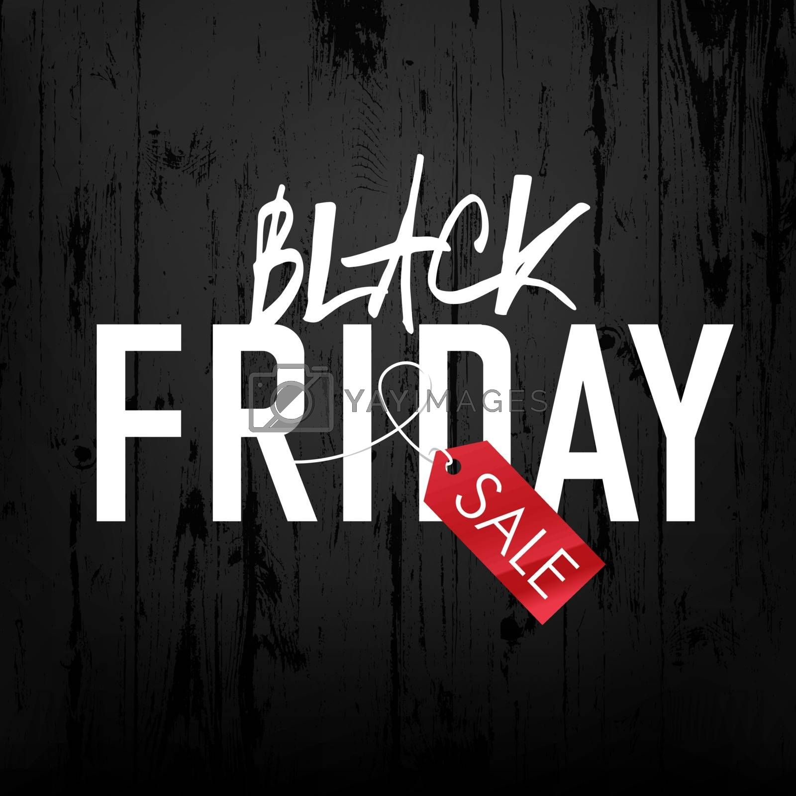 Black Friday sales Advertising Poster on Black Wooden background