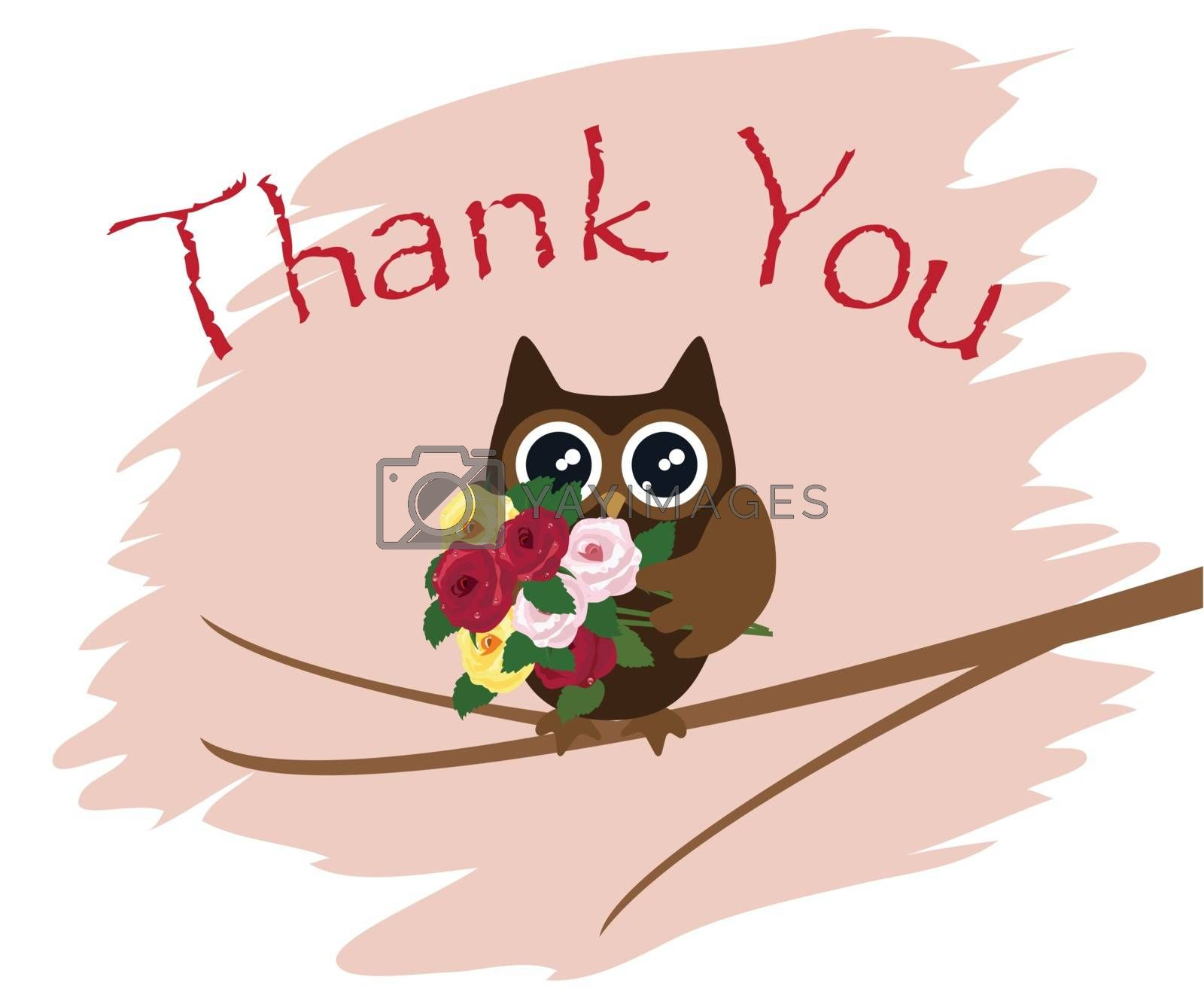 vector illustration of a thank you card with owl