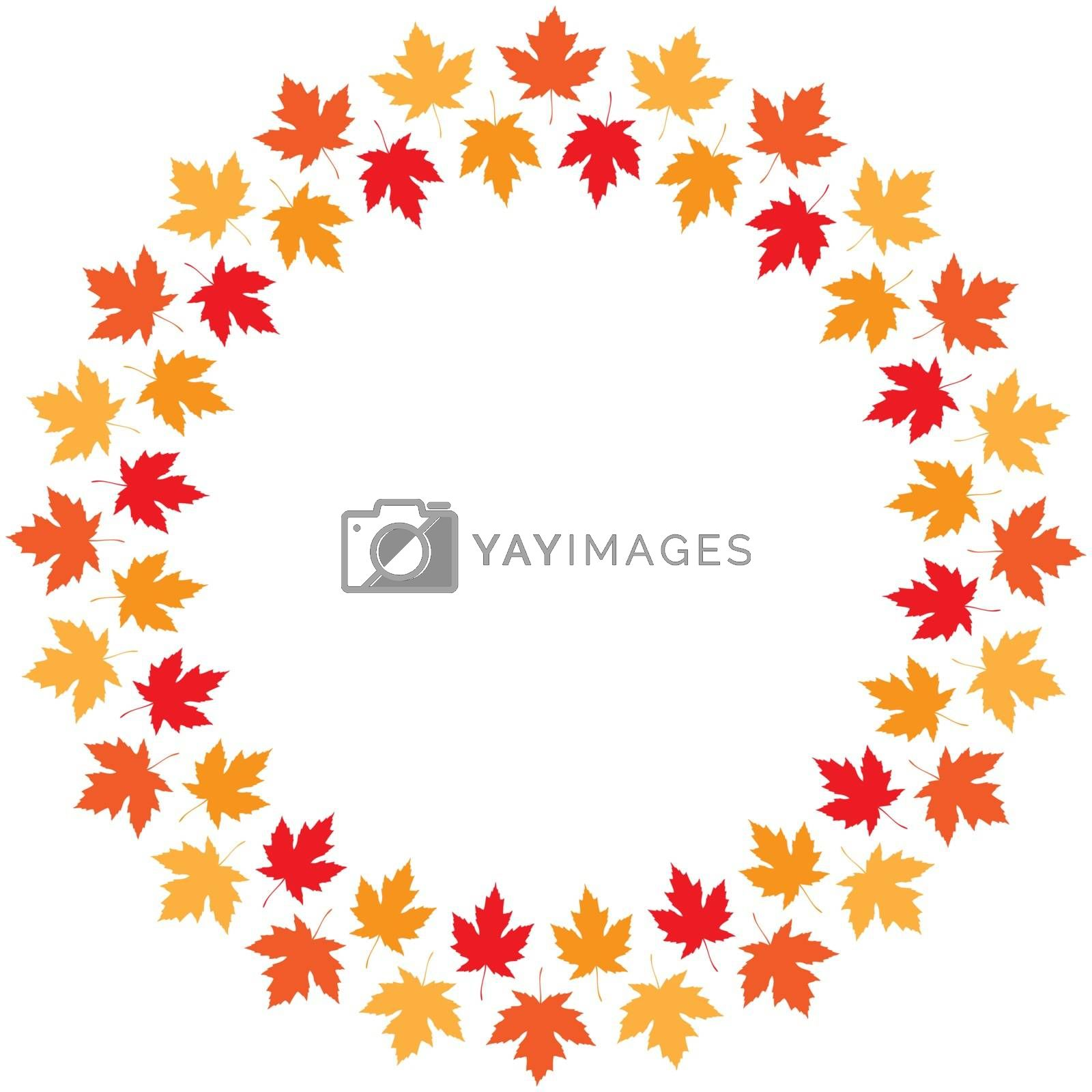Vector round frame from maple autumn leaves of different colors