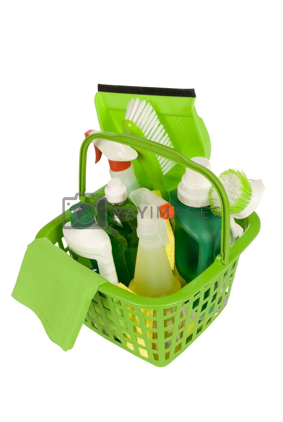 Environmentally safe green cleaning supplies.  Isolated on white.