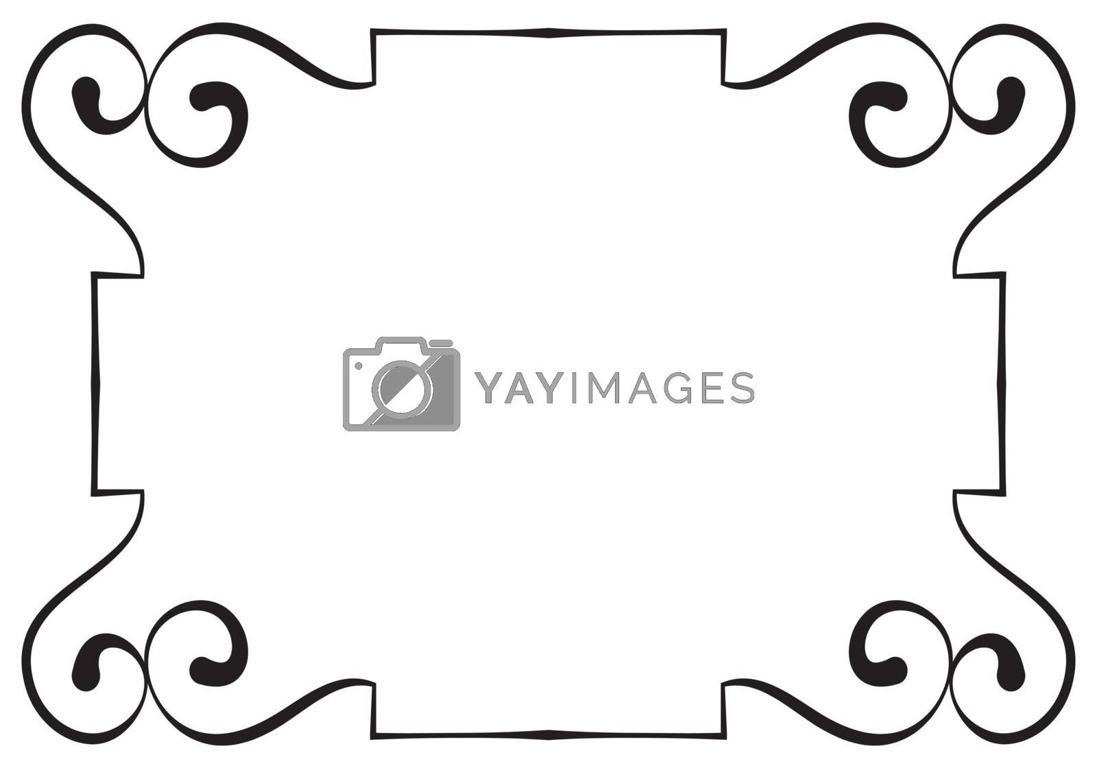 Vector elegant horizontal black frame on a white background