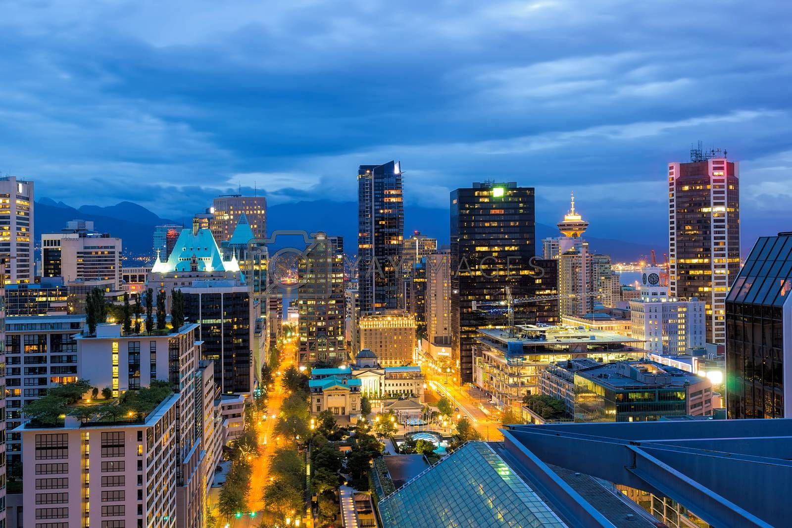 Vancouver British Columbia Canada downtown cityscape at evening blue hour