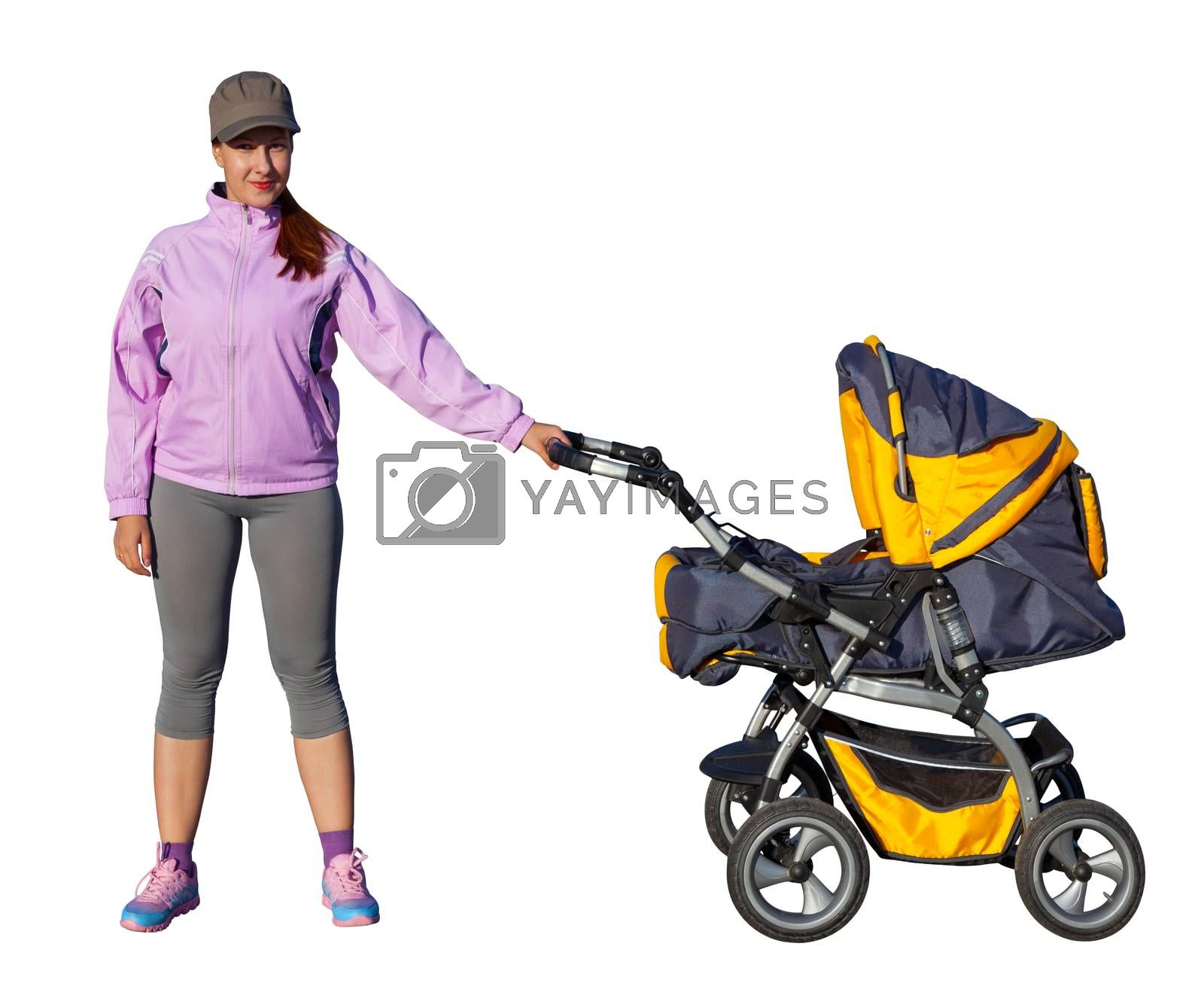 A Young mother athlete with a baby buggy isolated on white background