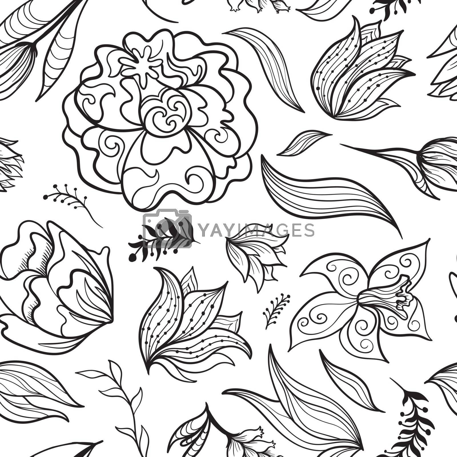 Seamless sketch texture with fantastic ornamental doodle flowers and leaves