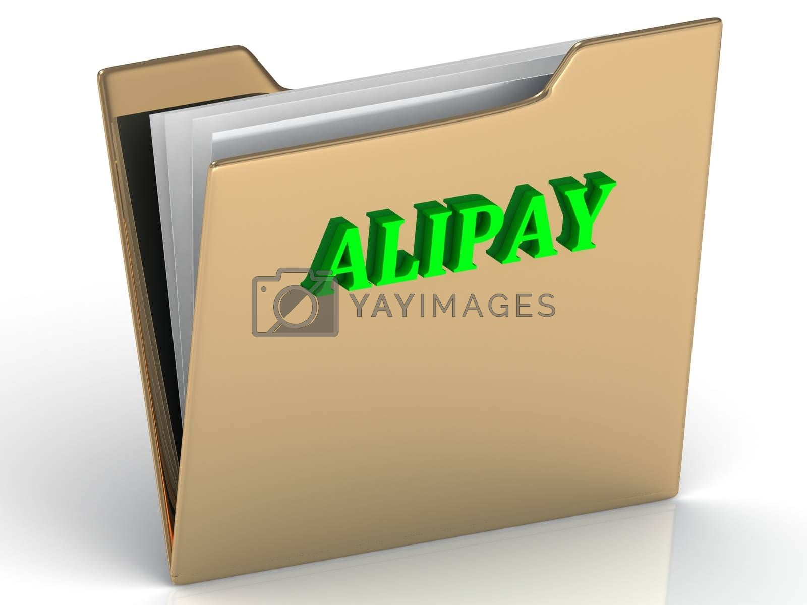 ALIPAY - bright letters on a gold folder on a white background