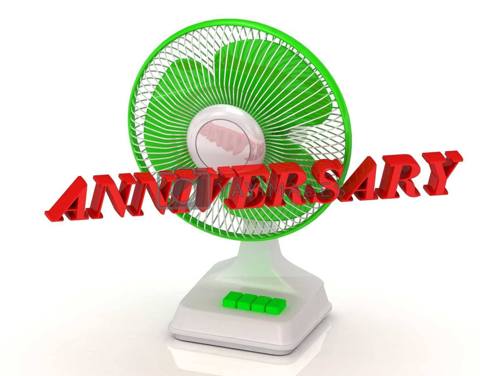 ANNIVERSARY - Green Fan and bright color letters on a white background