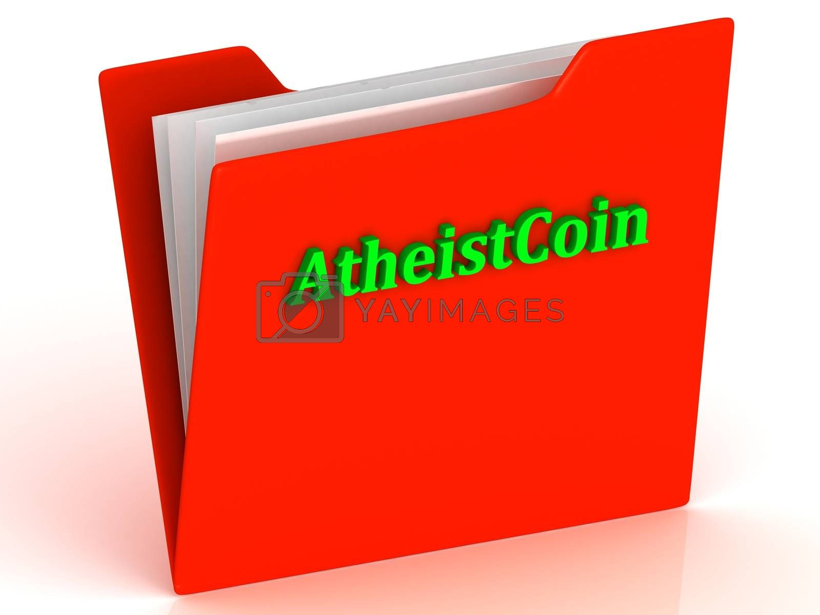 AtheistCoin- bright green letters on a gold folder on a white background