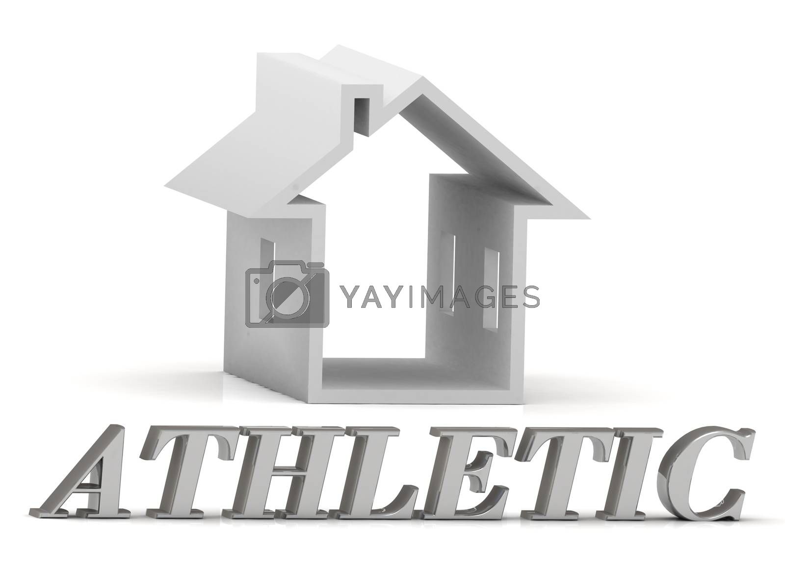 ATHLETIC- inscription of silver letters and white house on white background