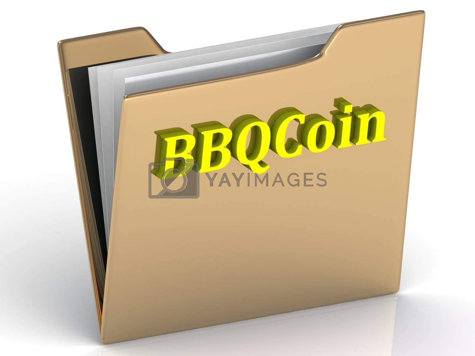 BBQCoin- bright letters on a gold folder on a white background