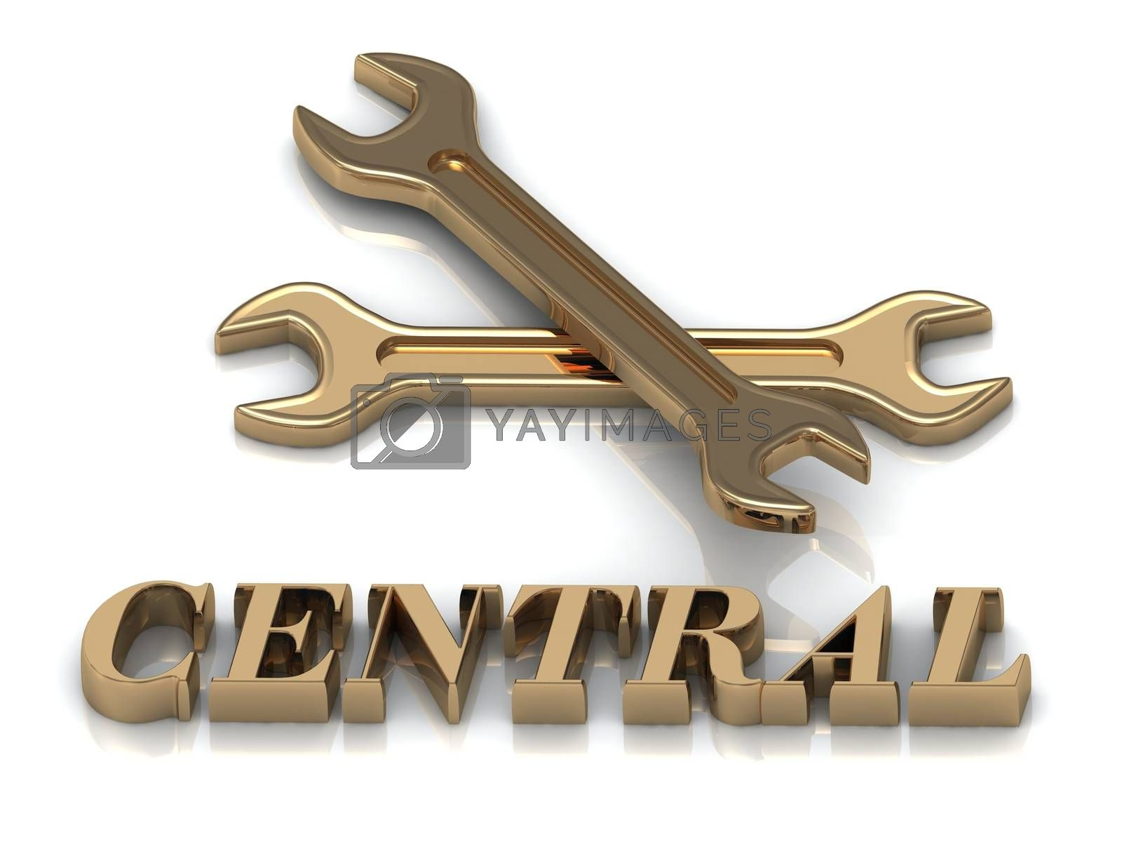 CENTRAL- inscription of metal letters and 2 keys on white background