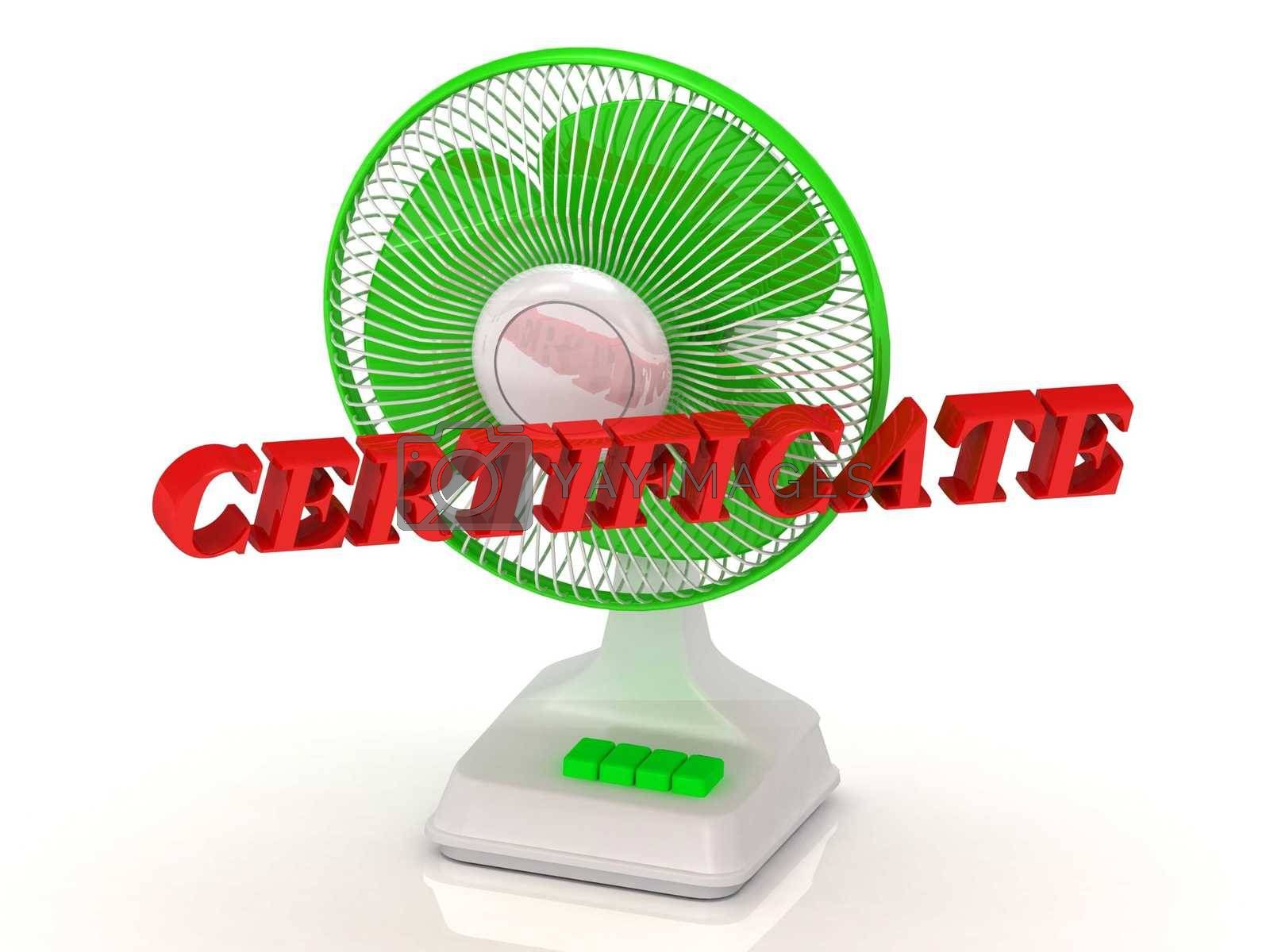 CERTIFICATE- Green Fan propeller and bright color letters on a white background