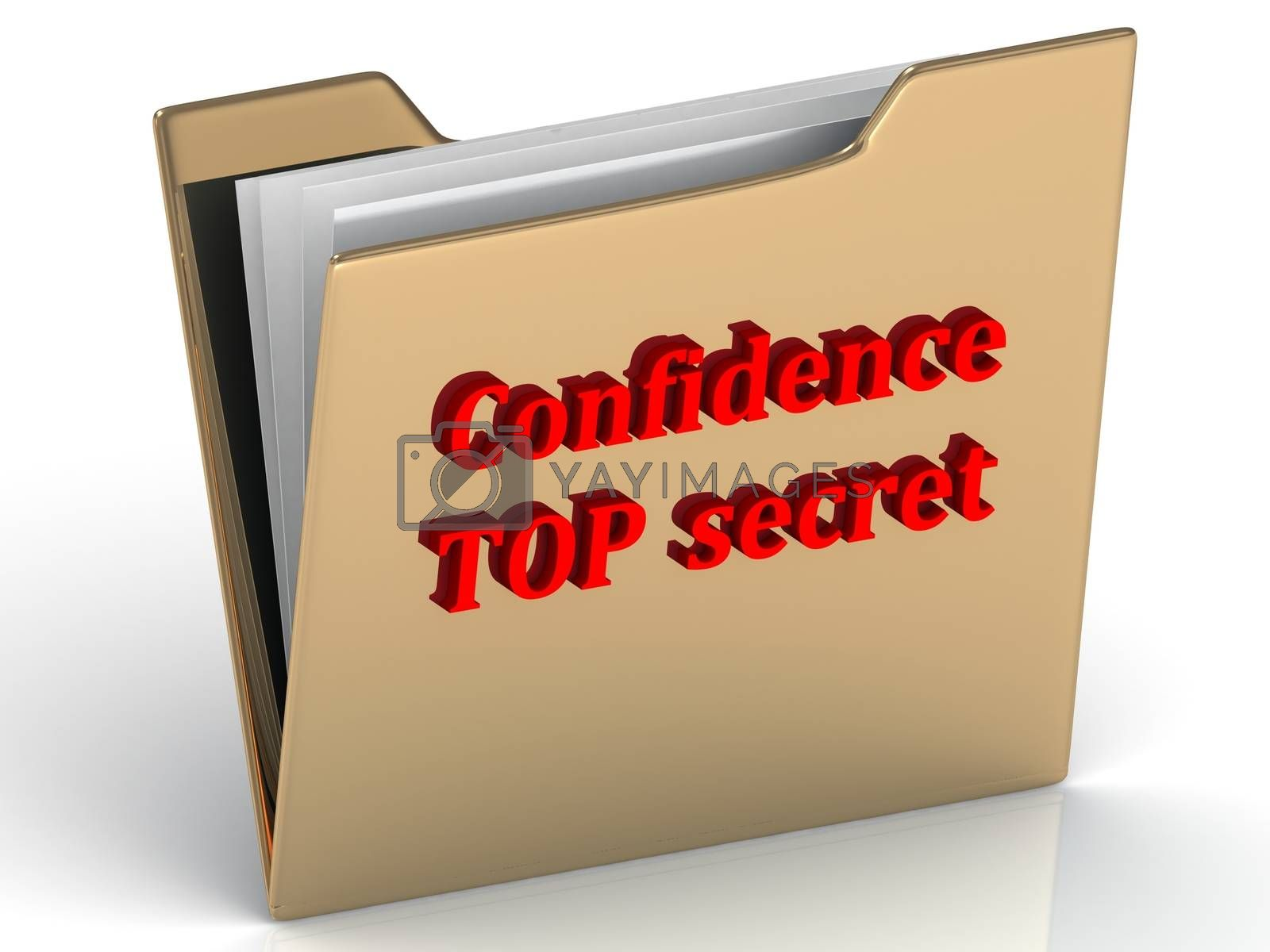 Confidence secret - bright green letters on a gold folder on a white background