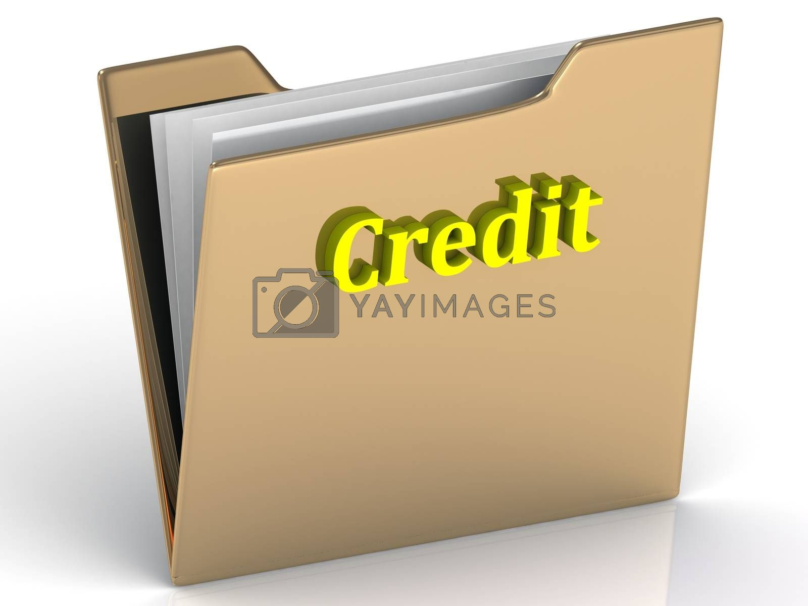 Credit- bright color letters on a gold folder on a white background
