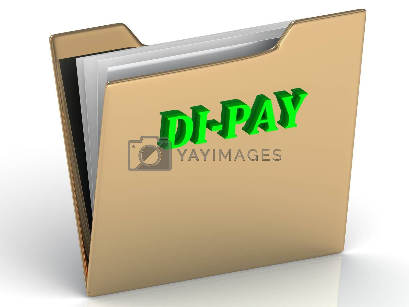 DI-PAY- bright color letters on a gold folder on a white background
