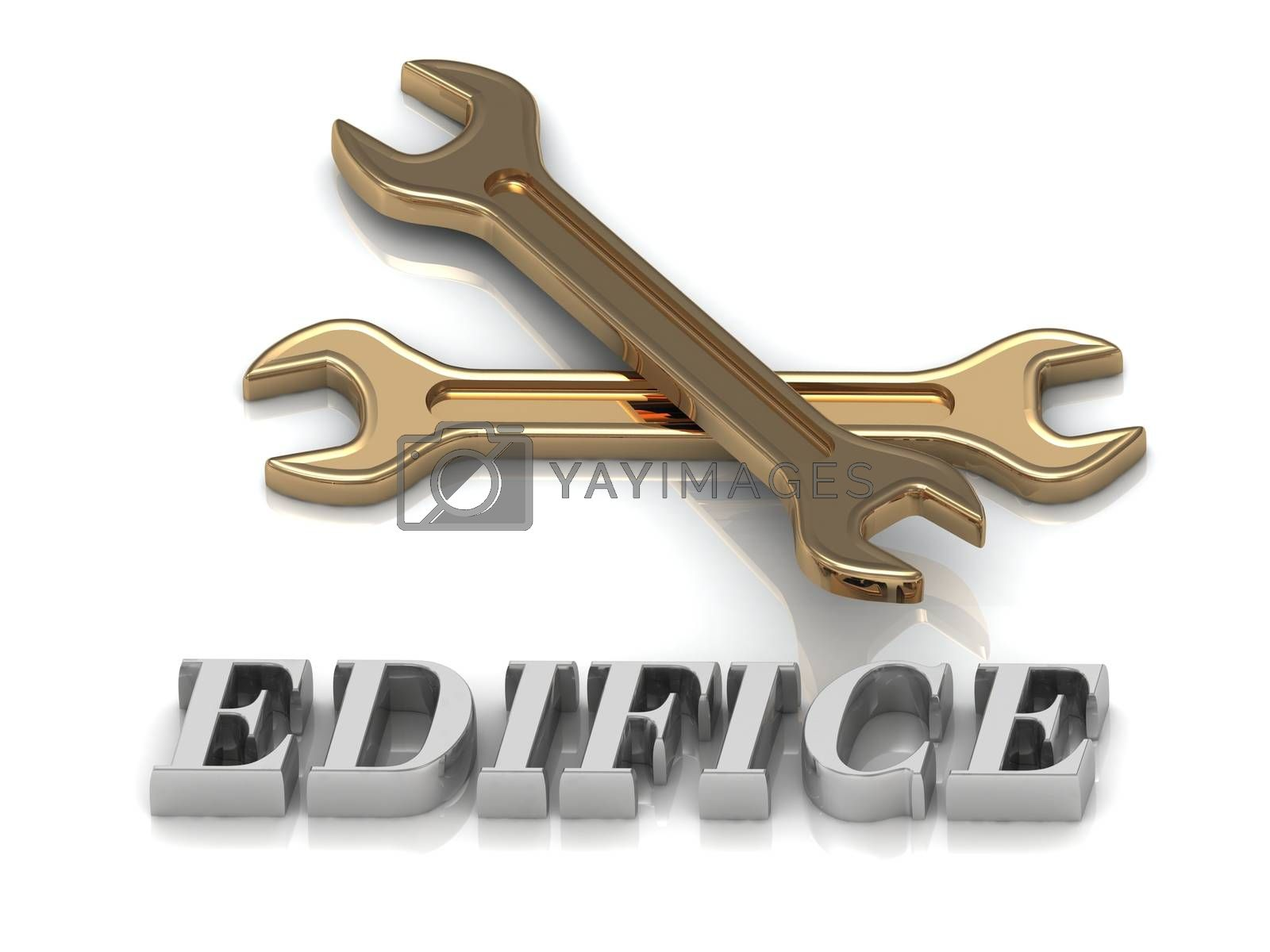 EDIFICE- inscription of metal letters and 2 keys on white background