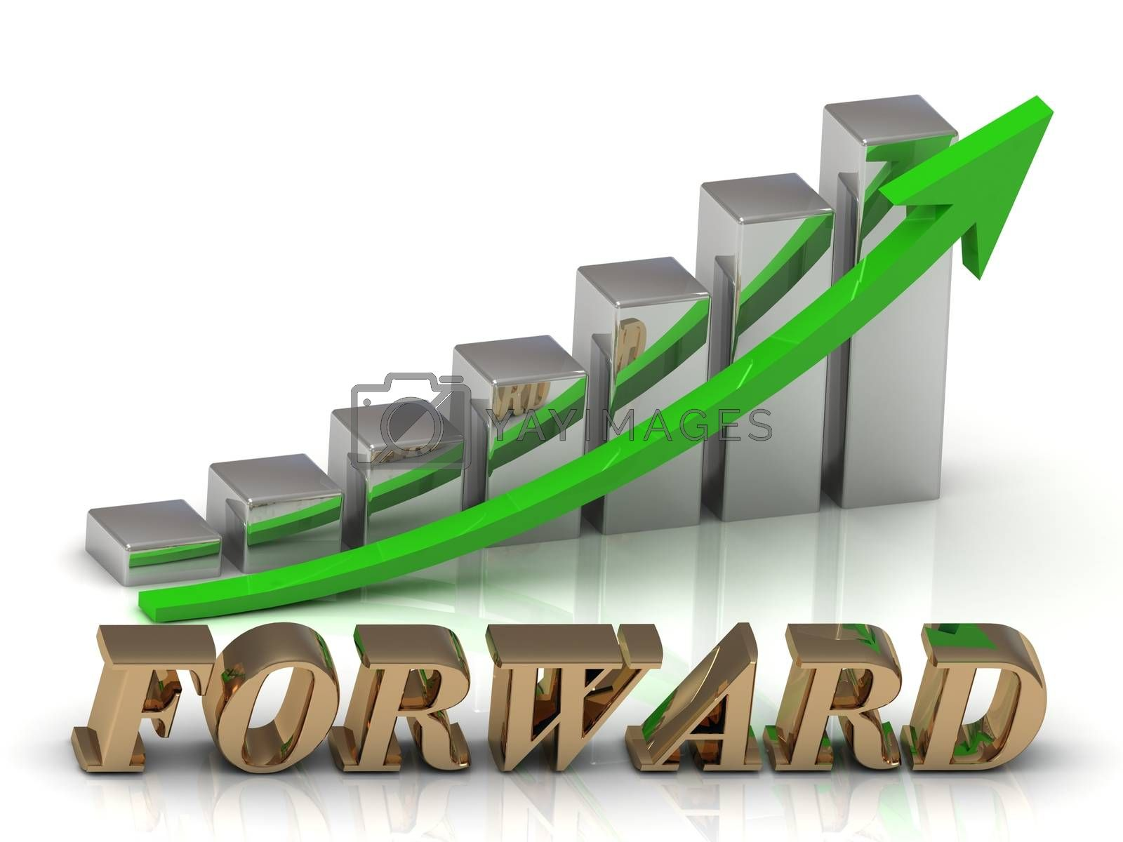 FORWARD- inscription of gold letters and Graphic growth and gold arrows on white background