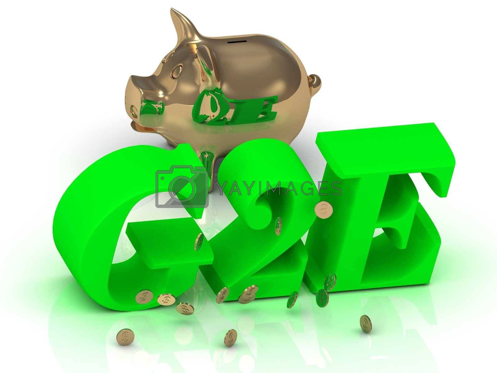 G2E - inscription of bright green letters and gold Piggy on white background