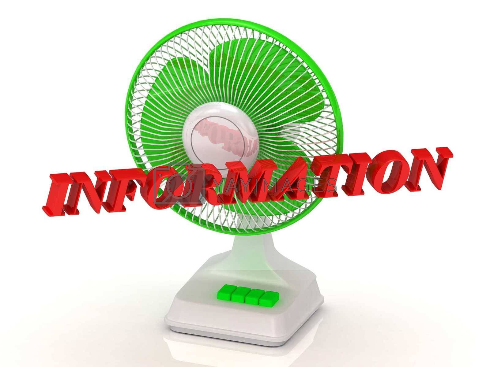 INFORMATION- Green Fan propeller and bright color letters on a white background