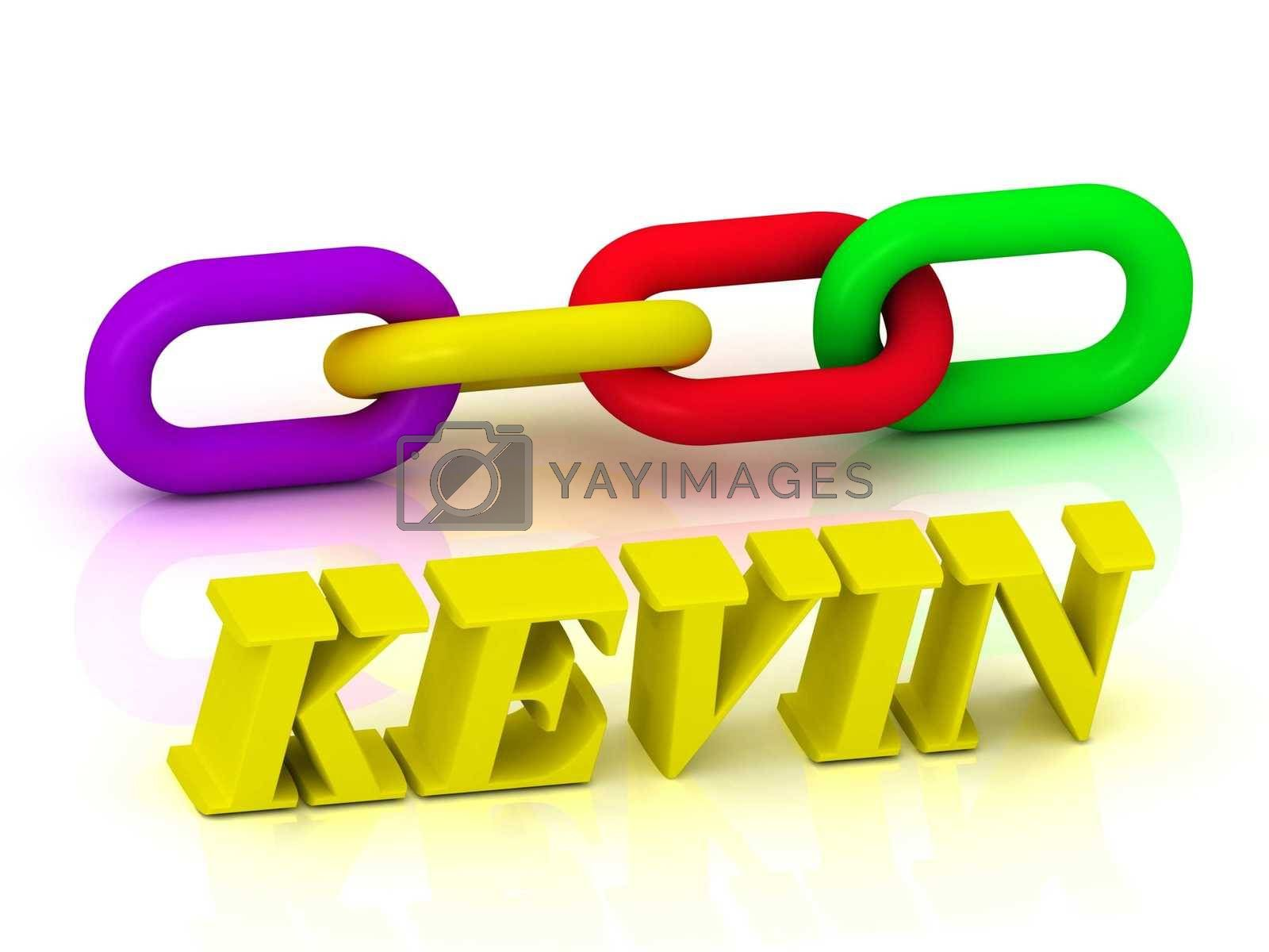 KEVIN- Name and Family of bright yellow letters and chain of green, yellow, red section on white background